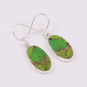 Green and purple copper earrings
