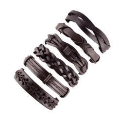 Leather multi layer bracelet