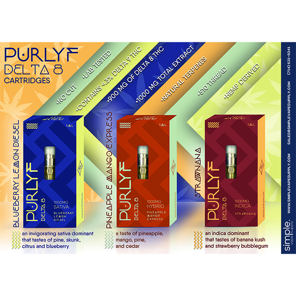 Purlyf 3 Flavors Delta 8 Cartridge