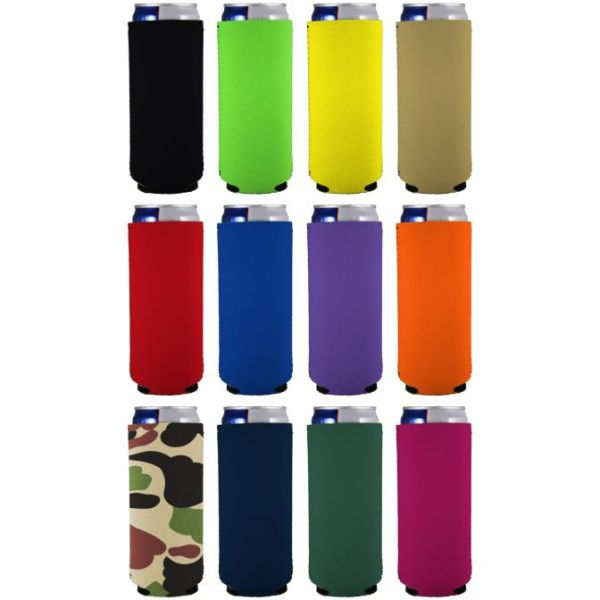 Blank slim can coolie color variety 12 pack.