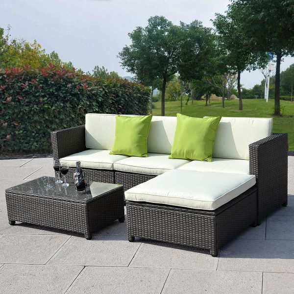 outdoor wicker patio furniture sectional sofa set Outdoor Patio Wicker Sofa Set - 5PC PE Rattan