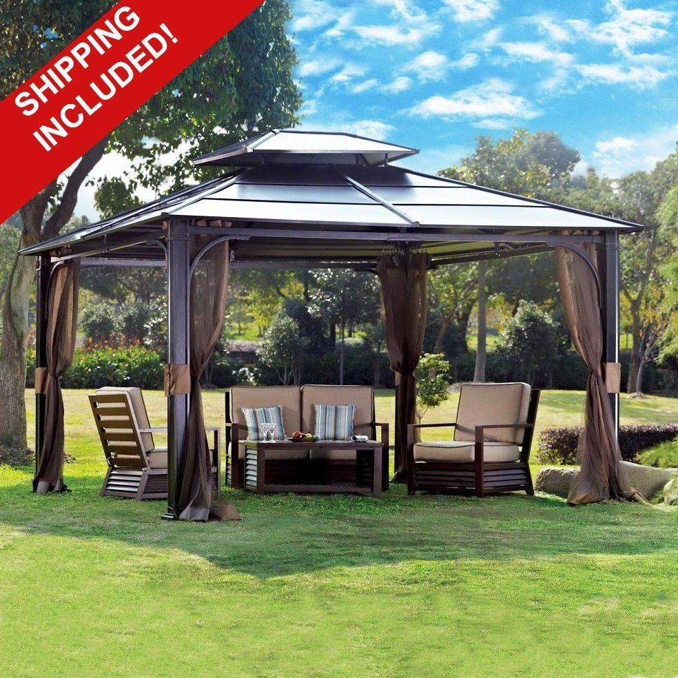 10 x 12 hardtop canopy gazebo w mosquito netting