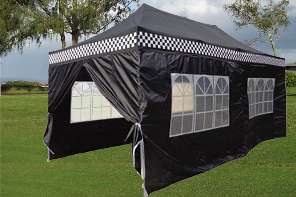 10 X 20 Black Checker Pop Up Tent Canopy Gazebo