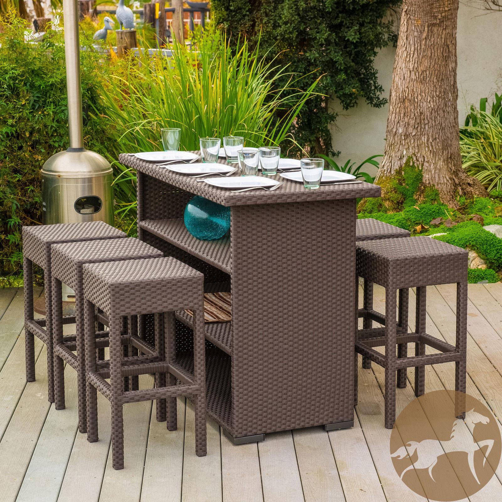 7 piece brown wicker bar patio set w bar stools