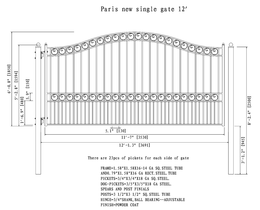 Paris Style Single Swing Steel Driveway Gate