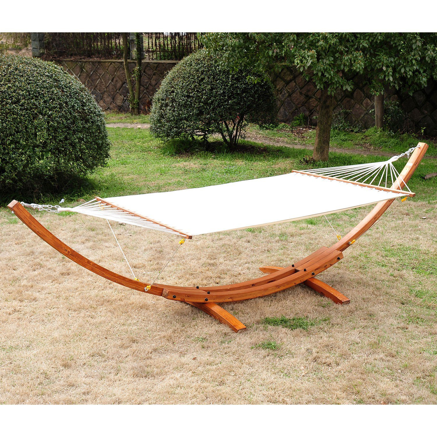 Cypress Wooden Arc Hammock Stand With Hammock