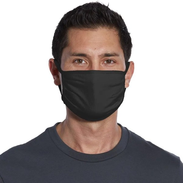 wholesale cotton face mask black front view