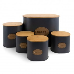 Grey with Bamboo Lids Kitchen Canister Set