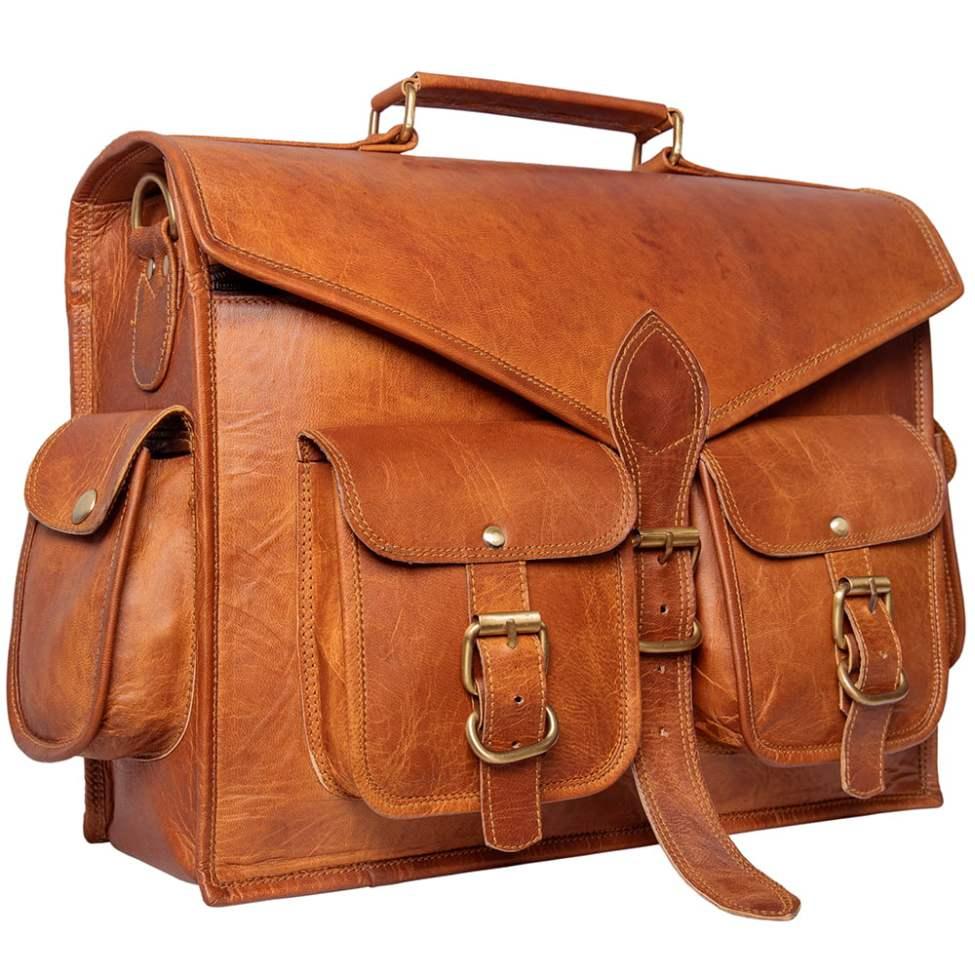 Leather Satchel Messenger Laptop Bag