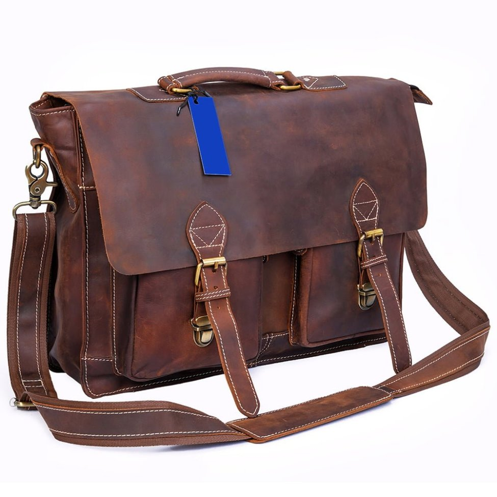 Brown Buffalo Leather Messenger Bag with 2 Pockets