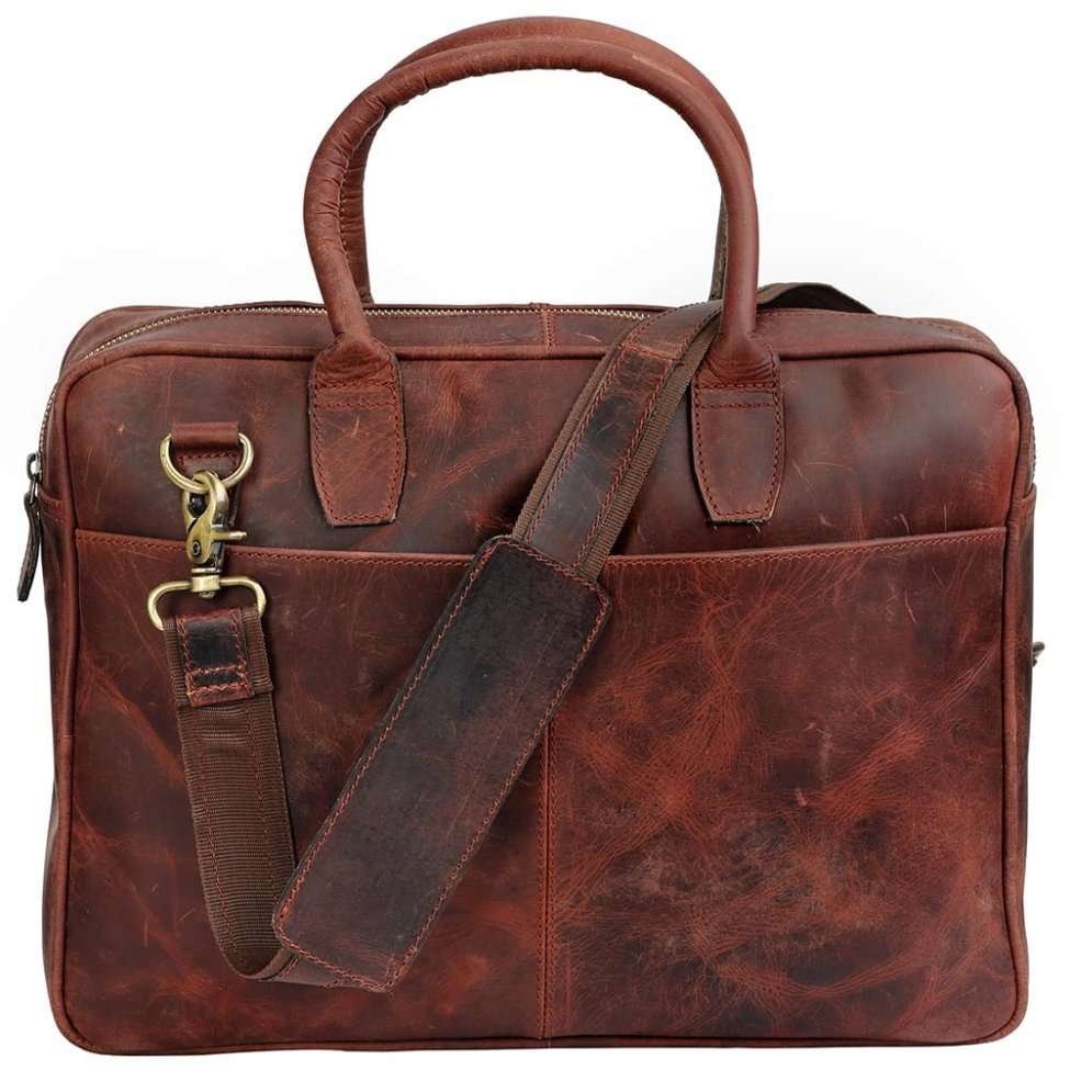 Leather Buffalo Briefcase Bag - Brown Handmade