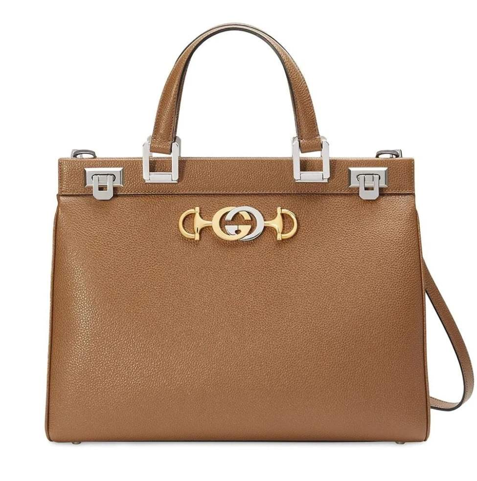 Gucci Zumi grainy leather medium top handle bag min
