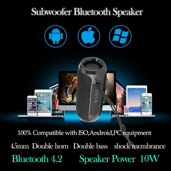 Mini compact - Bluetooth speaker - subwoofer - stereo - Wholesale Products Pro