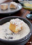 Mango, white chocolate and lime lamingtons