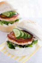 Salmon burger patties with caper yoghurt dressing