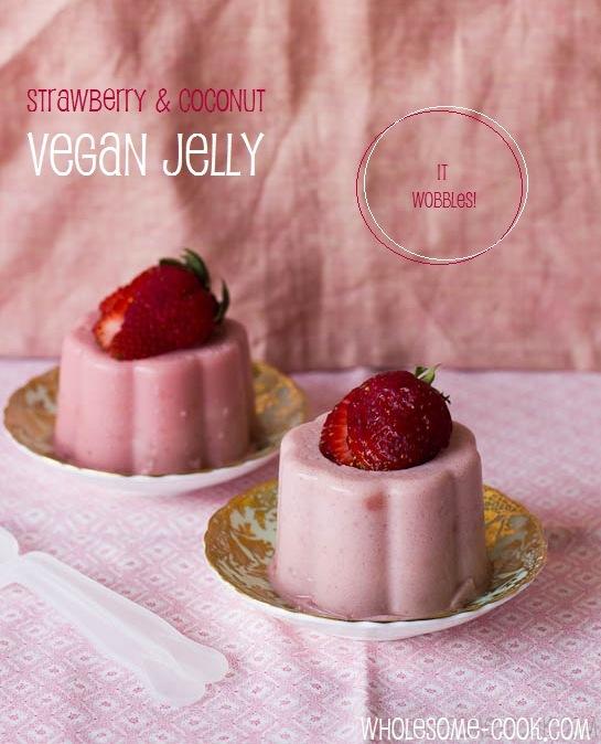 Strawberry and coconut vegan jelly jello