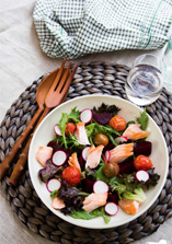 Salmon Radish Beetroot  and Roasted Tomato Salad