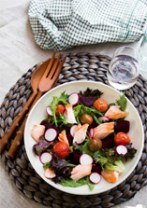 Salmon Radish Beetroot and Roasted Tomato Salad