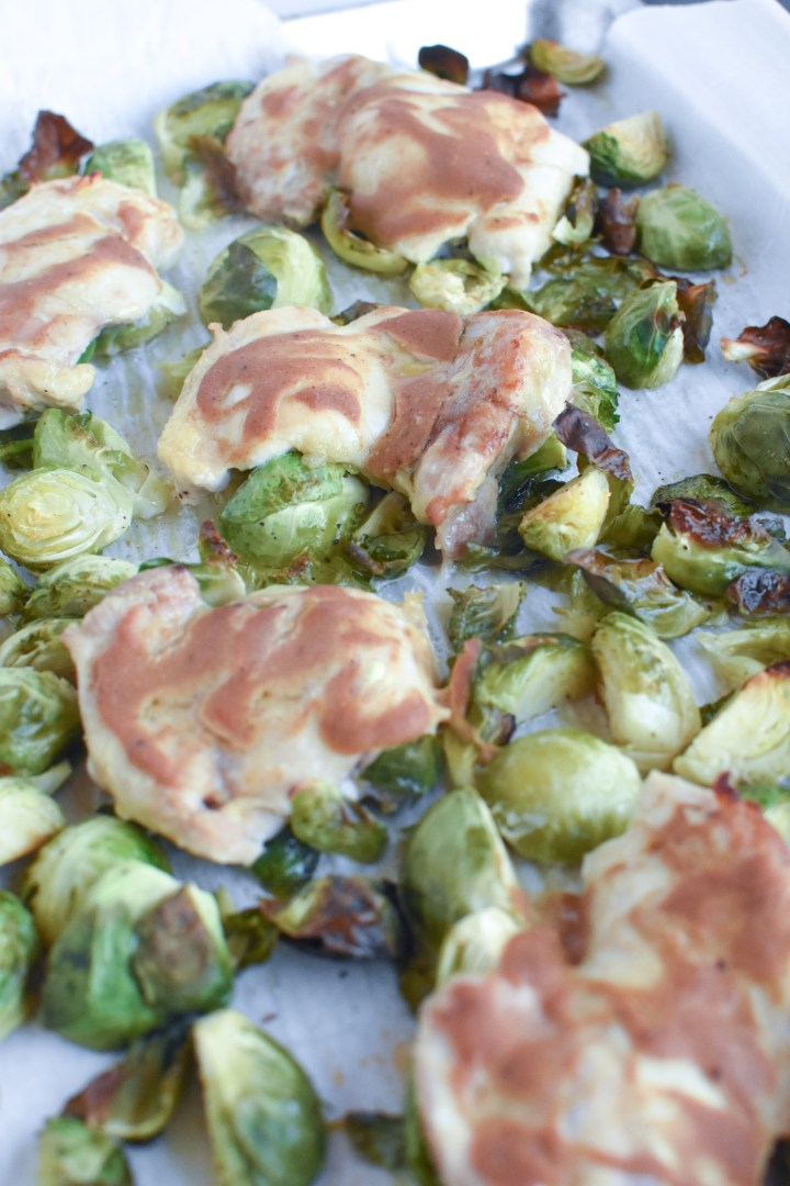 Sheet Pan Dijon Chicken and Brussels Sprouts
