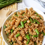 Asparagus and Chickpeas Pasta Salad with a Tahini Dressing (Recipe Redux)