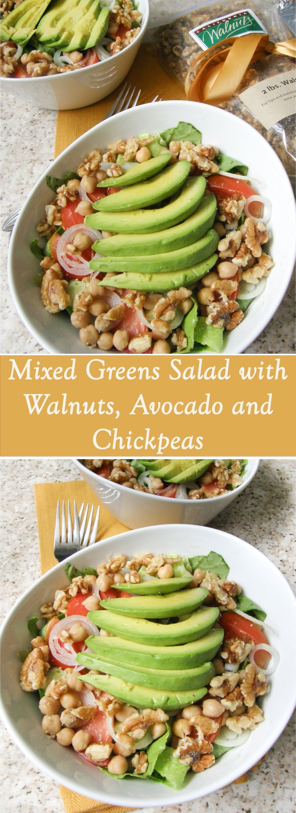Mixed Greens Salad with Walnuts, Avocado and Chickpeas #Sponsored
