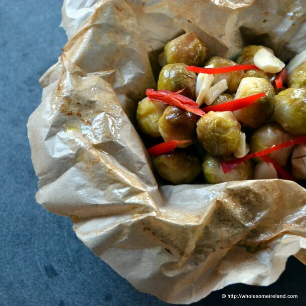 Braised Brussels Sprouts with Garlic and Chilli