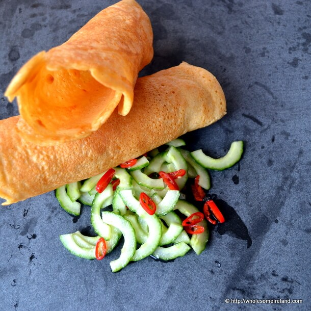 Dosa (Indian Style Savoury Pancakes) with a Speedy Cucumber Pickle