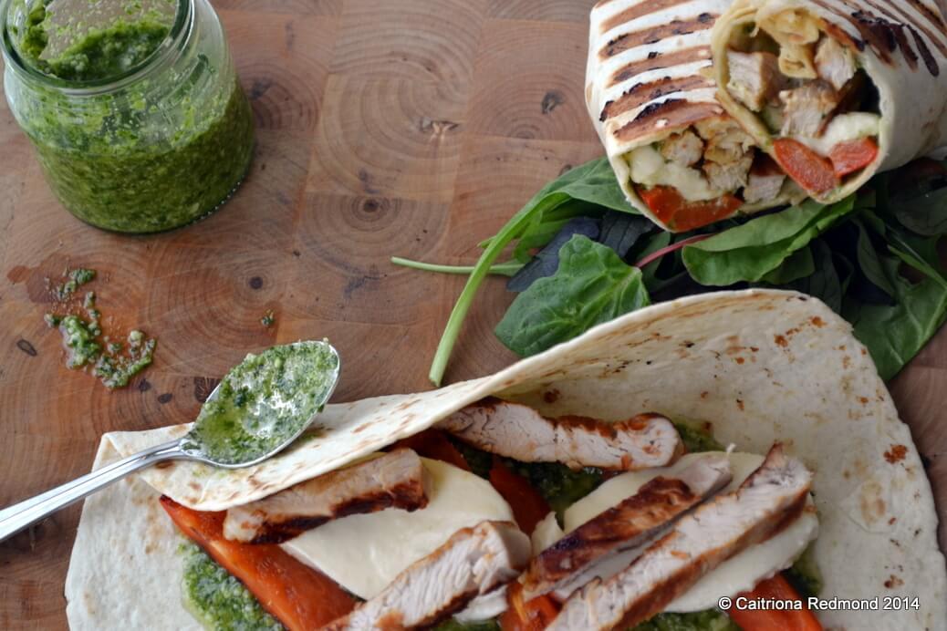 Grilled Turkey Wrap With Pesto