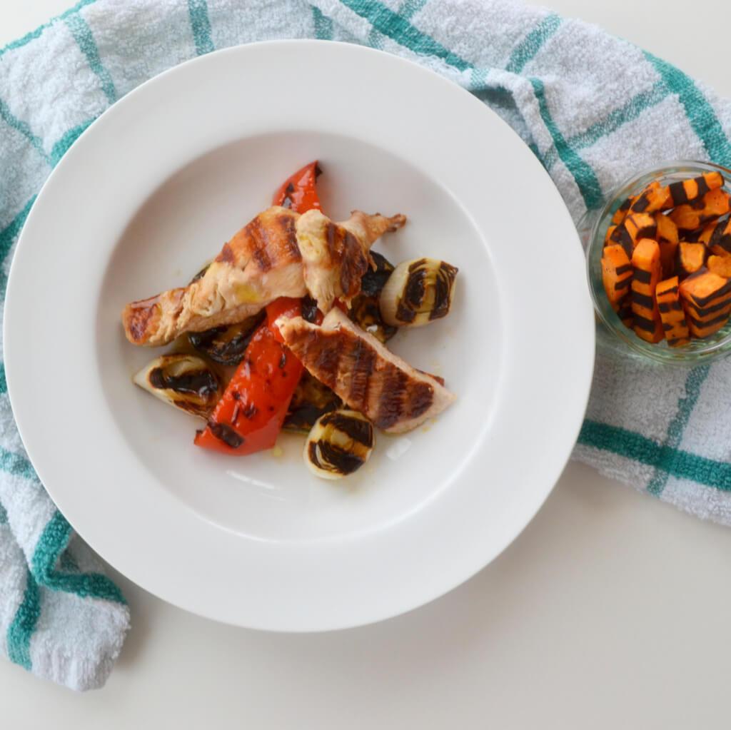 Griddled Turkey Steak with Roasted Vegetables