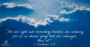 Verse image 2 Cor. 4:17 written in inky blue clouds