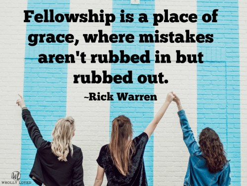 Quote from Rick Warren with background of friends