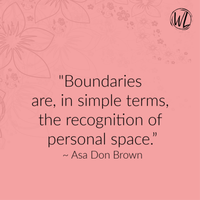 Boundaries Quote on peach background