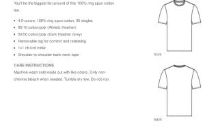 T-shirt fabric information
