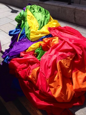 The flag after the parade, all piled up into one giant heap of rainbow!