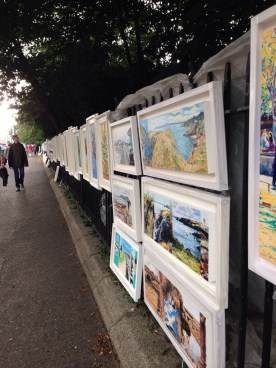 Art vendors outside of Merrion Square