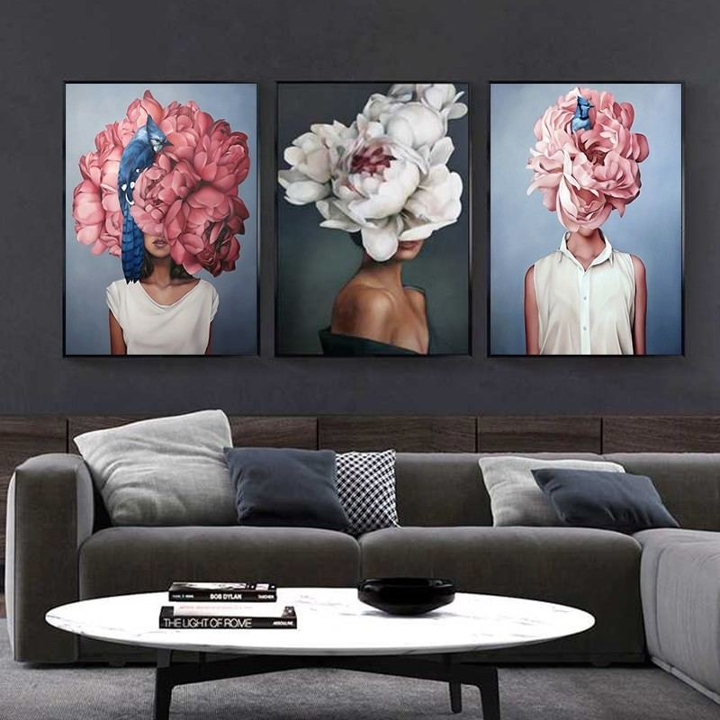 Flower and Feathers Wall Art Painting