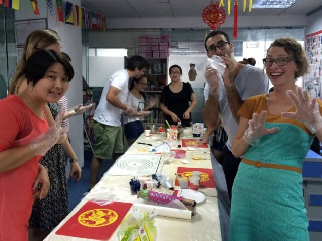 Mooncake creation in action