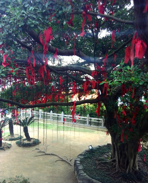Red prayers hang from the trees