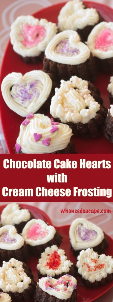 These are the perfect sweet treats for Valentine's Day! Luscious little chocolate cake hearts topped with cream cheese frosting and a variety of sprinkles. Ideal for parties, these bite-sized desserts won't last long.