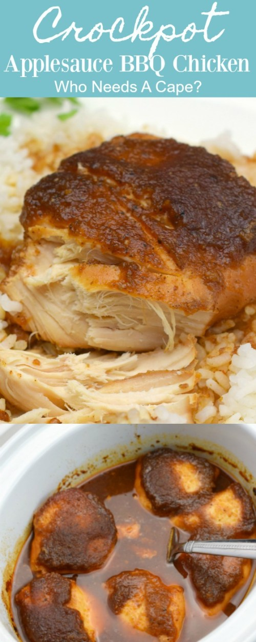 white plate with parsley containing rice and piece of crockpot applesauce bbq chicken