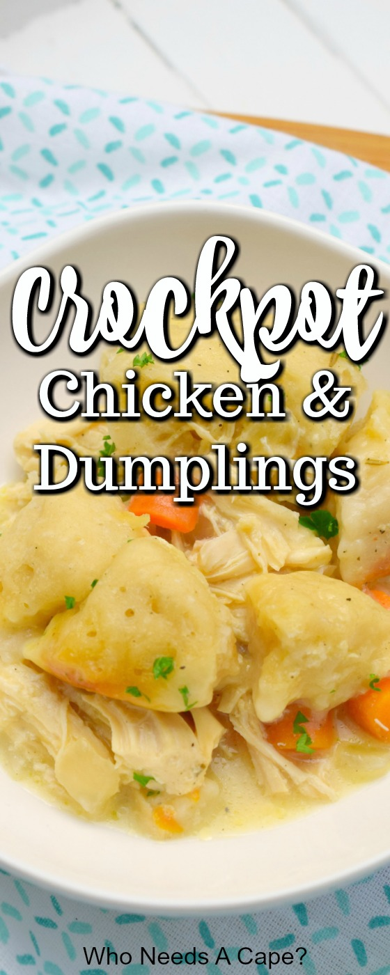 Crockpot Chicken & Dumplings is a delicious comforting meal straight from your slow cooker. Full of flavor, your family will love this easy meal for dinner.