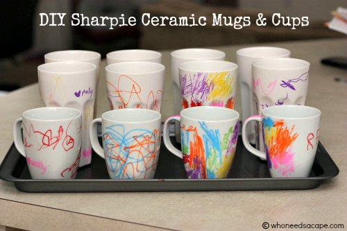 DIY Sharpie Ceramic Mugs and Cups