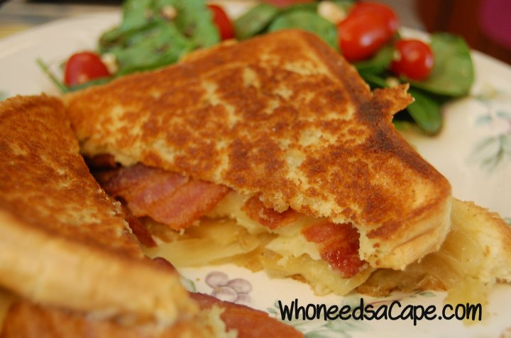 Grilled Cheese with Bacon, Apple, and onion