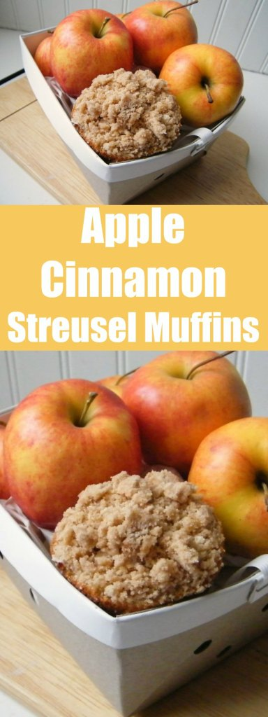 Whether for breakfast or snack, these muffins are great with bits of apple and crumbly topping.