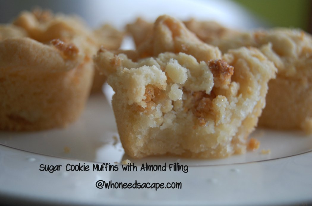 Sugar Cookie Muffins with Almond Filling | Who Needs A Cape?