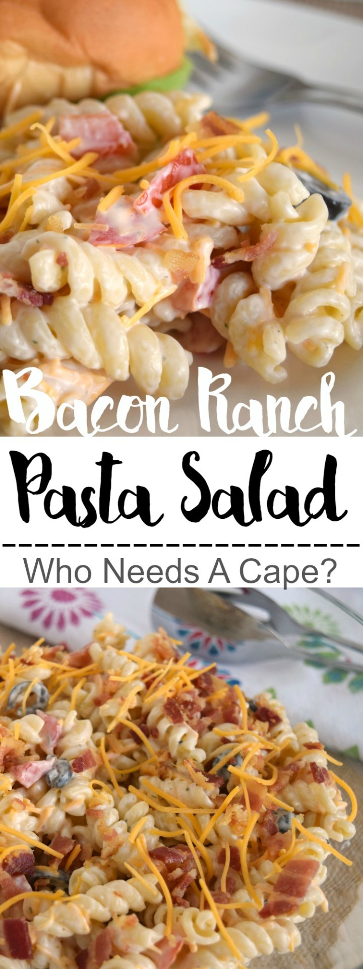 Bacon Ranch Pasta Salad is the perfect side for all your summer meals! Creamy, easy to prepare, this is a hit at BBQ's and picnics!