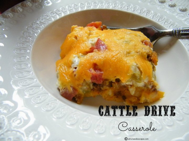 Cattle Drive Casserole, the ultimate comfort food. Layers of cheese, meat, and more cheese make for this satisfying casserole beyond delicious.
