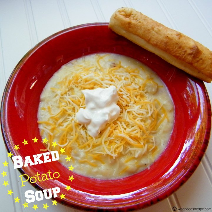 Serve up a bowl of hearty Baked Potato Soup! Easy to prepare, the perfect cold weather meal. Great with bacon, cheese & sour cream on top.