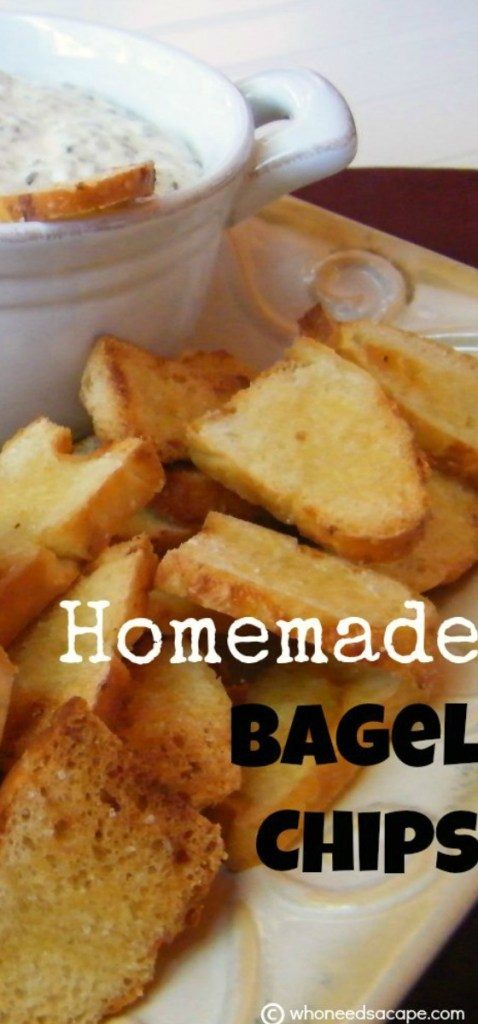 Why buy from the store when you can make your own Homemade Bagel Chips right in your own kitchen! Perfect for dips, I love them!
