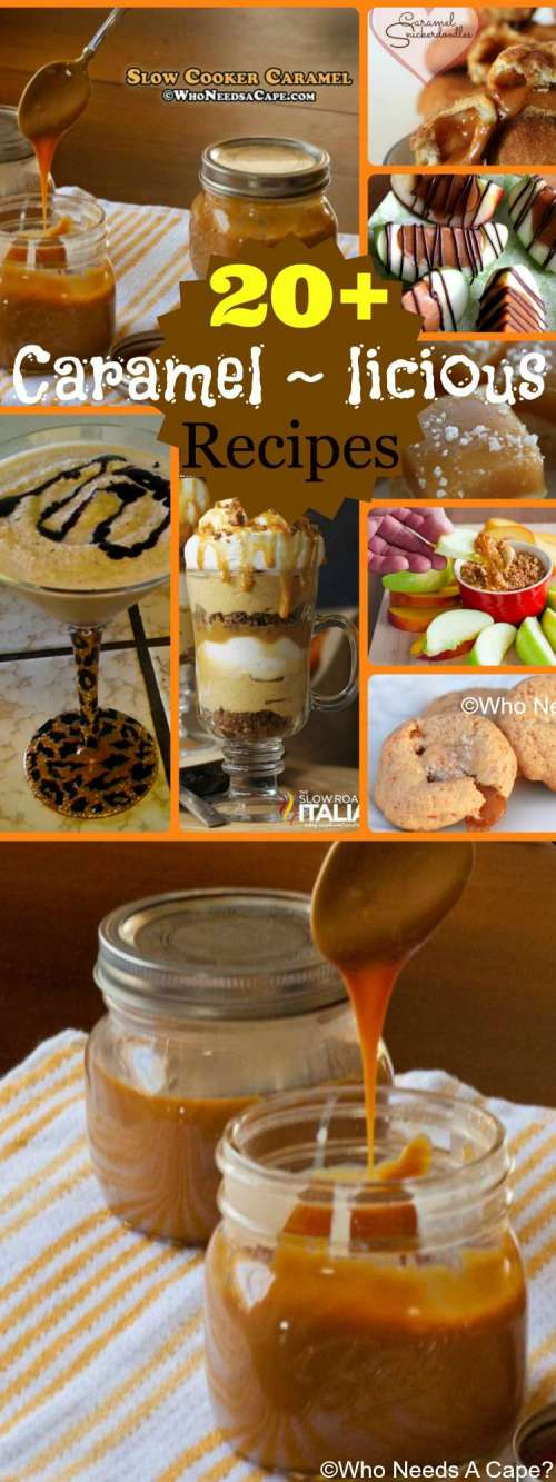 20+ Caramel ~ icious Recipes, everything from sauces, toppings, baked goods and more! Ooey-gooey goodness that you'll just love for desserts and snacks.